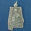 State of Alabama Sterling Silver Charm Pendant and Cities Montgomery and Mobile with Picture of Cotton Plant and Steel Mill