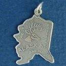 State of Alaska Sterling Silver Charm Pendant and Cities Juneau, Fairbanks and Nome with Picture of Elk