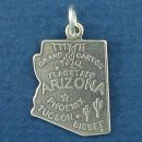 State of Arizona Sterling Silver Charm Pendant and Cities Phoenix, Flagstaff, Tucson and Bisbee with Picture of Grand Canyon and Cactus