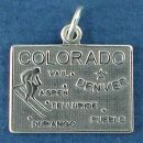 State of Colorado Sterling Silver Charm Pendant and Cities Denver, Vail, Aspen, Telluride, Durango and Pueblo with Picture of Snow Skier