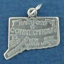 State of Connecticut Sterling Silver Charm Pendant and Cities Hartford, Bridgeport, New Haven and New London with Picture of Industry and Gun Manufacturing