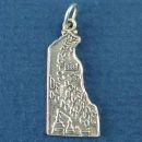 State of Delaware Sterling Silver Charm Pendant and Cities Dover and Wilmington with Picture of Dupont Chemical Company and Sky Tram
