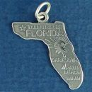 State of Florida Sterling Silver Charm Pendant and Cities Tallahassee, Miami, Sarasota and Palm Beach with Picture of Sun and Palm Tree