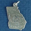 State of Georgia Sterling Silver Charm Pendant and Cities Atlanta, Macon and Savannah with Picture of Cotton Plant and Corn Stalk