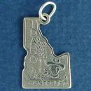 State of Idaho Sterling Silver Charm Pendant and Cities Boise and Montpelier with Picture of Wheat Stalk and Cowboy
