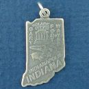 State of Indiana Sterling Silver Charm Pendant and Cities Indianapolis, Gary and Fort Wayne with Picture of Clark Shrine, Pig and Ear of Corn