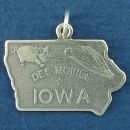 State of Iowa Sterling Silver Charm Pendant and City of Des Moines with Picture of Pig and Ear of Corn