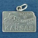 State of Kansas Sterling Silver Charm Pendant and Cities Topeka, Kansas City and Wichita with Picture of Industry