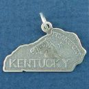 State of Kentucky Sterling Silver Charm Pendant and City Frankfort with Picture of Race Horse Head