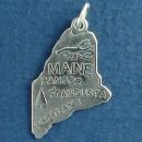 State of Maine Sterling Silver Charm Pendant and Cities Augusta, Bangor and Portland with Picture of a Lobster and Fir Tree