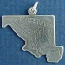 State of Maryland Sterling Silver Charm Pendant and Cities Annapolis and Baltimore with Picture of Steel Mill and ManufacturingSteel Mill