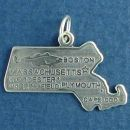 State of Massachusetts Sterling Silver Charm Pendant and Cities Boston, Plymouth, Worcester and Springfield with Picture of Fishing Industry and Cape Cod