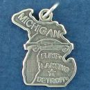 State of Michigan Sterling Silver Charm Pendant and Cities Lansing, Detroit and Flint with Picture of Automobile