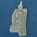 State of Mississippi Sterling Silver Charm Pendant and Cities Jackson, Natchez and Vicksburg with Picture of Cotton Plant and Monument