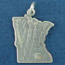 State of Minnesota Sterling Silver Charm Pendant and Cities St. Paul and Minneapolis with Picture of Pig and Ear of CornPig
