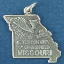 State of Missouri Sterling Silver Charm Pendant and Cities Springfield, Jefferson City, Kansas City and St. Louis with Picture of Ear of Corn and Cattle Head