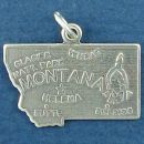 State of Montana Sterling Silver Charm Pendant and Cities Helena, Butte, Billings and Glacier National Park with Picture of Indian's Head and Known for Wheat