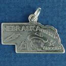 State of Nebraska Sterling Silver Charm Pendant and Cities Lincoln and Omaha with Picture of Ear of Corn and Cattle Man with Steer