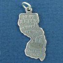 State of New Jersey Sterling Silver Charm Pendant and Cities Trenton, Newark and Atlantic City with Picture of Industry