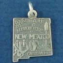 State of New Mexico Sterling Silver Charm Pendant and Cities Santa Fe, Albuquerque and Carlsbad with Picture of Cactus, Atomic Symbol and Indian Symbols