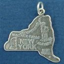 State of New York Sterling Silver Charm Pendant and Cities Albany, New York and Rochester with Picture of Statue of Liberty and Niagara Falls