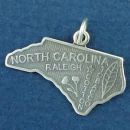 State of North Carolina Sterling Silver Charm Pendant and City of Raleigh with Picture of Tobacco Leaf and Cotton Plant