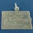 State of North Dakota Sterling Silver Charm Pendant and Cities Bismarck, Grand Forks and Fargo with Picture of Indian's Head and Wheat Grain