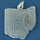 State of Ohio Sterling Silver Charm Pendant and Cities Toledo, Cleveland, Columbus and Cincinnati with Picture of a Tire