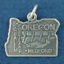 State of Oregon Sterling Silver Charm Pendant and Cities Salem, Portland and Medford with Picture of Salmon