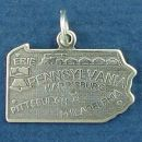 State of Pennsylvania Sterling Silver Charm Pendant and Cities Harrisburg, Erie, Pittsburgh and Philadelphia with Picture of the Liberty Bell and Train Locomotive