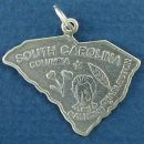 State of South Carolina Sterling Silver Charm Pendant and Cities Columbia and Charleston with Picture of John C. Calhoun's Head, Cotton and Tobacco Leaf
