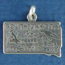 State of South Dakota Sterling Silver Charm Pendant and Cities Pierre, Rapid City, Sioux Falls and Huron with Picture of Corn Stalk and Steer