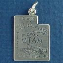State of Utah Sterling Silver Charm Pendant and Cities Salt Lake City, Ogden and Cedar City with Picture of Copper Mining
