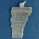 State of Vermont Sterling Silver Charm Pendant and Cities Montpelier and Rutland with Picture of Dairy Cow