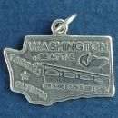 State of Washington Sterling Silver Charm Pendant and Cities Olympia, Seattle and Tacoma with Picture of Grand Coulee Dam and Salmon