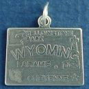 State of Wyoming Sterling Silver Charm Pendant and Cities Cheyenne and Laramie with Picture of Yellowstone Park, Buffalo and Oil Derrick