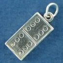 Domino Game Piece Sterling Silver Charm Pendant