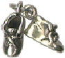 Baby Shoes Pair 3D Sterling Silver Charm Pendant