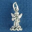 Angel Charm Sterling Silver Pendant Playing a Violin