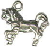 Horse Pony Prancing 3D Sterling Silver Charm Pendant