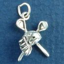 Lacrosse Sticks with Helmet 3D Sterling Silver Charm Pendant
