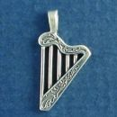 Musical Instrument Small Harp 3D Sterling Silver Charm Pendant