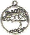 Cypress Tree in Disk Sterling Silver Charm Pendant