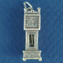 Grandfather Clock 3D Sterling Silver Charm Pendant
