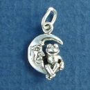 Frog Sitting on Crescent Moon 3D Small Sterling Silver Charm Pendant