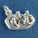 White Water Raft with Four Passengers 3D Sterling Silver Charm Pendant