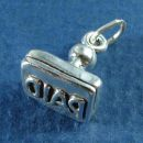 Office PAID Invoice Stamp 3D Sterling Silver Charm Pendant