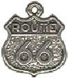 Tour: Route 66 Sign Sterling Silver Charm Pendant