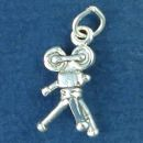 Film Movie Camera 3D on Tripod Sterling Silver Charm Pendant