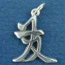Chinese Text for Prosperity Word Phrase Sterling Silver Charm Pendant
